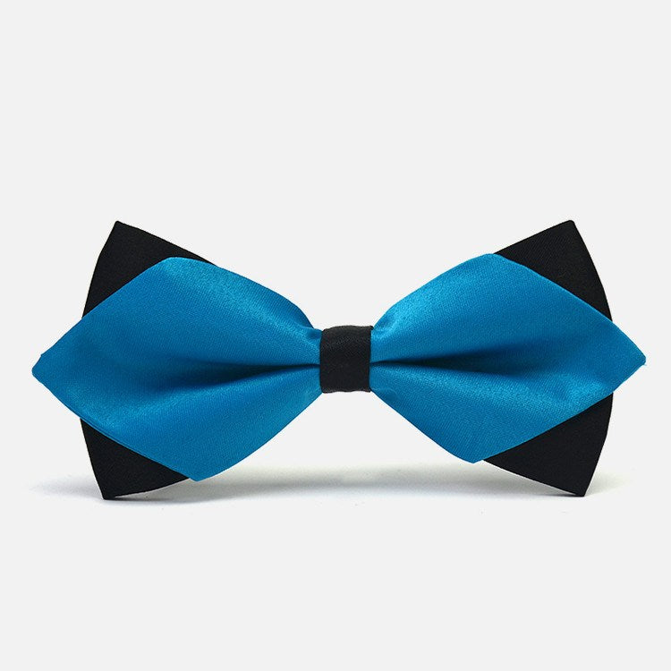 Lake Blue Diamond-Tip Tuxedo Bow Tie - Bowties