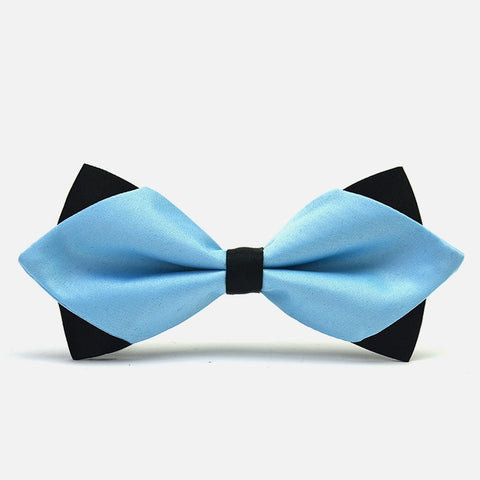 Light Blue Diamond-Tip Tuxedo Bow Tie - Bowties