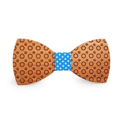 Light Blue Dotted Wooden Bow Tie