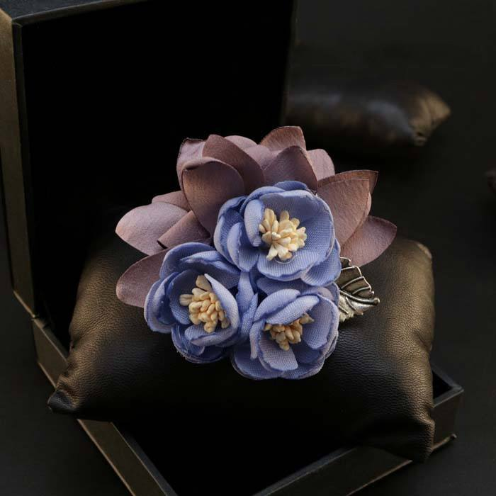 Blue Lapel Flower Clip - Bowties - 1