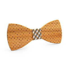Light Dotted Stunner Wooden Bow Tie