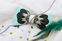 Aqua Feather Bow Tie