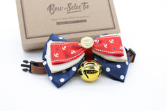 Navy Pattern Cat & Dog Bow Tie Collar
