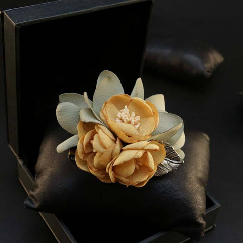 Orange Lapel Flower Clip - Bowties - 1