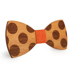 Orange Polka Dots Wooden Bow Tie
