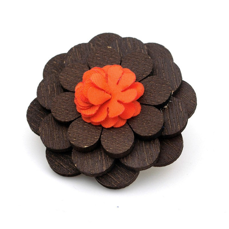 Orange Wooden Lapel Pin
