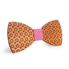 Pink Dotted Wooden Bow Tie