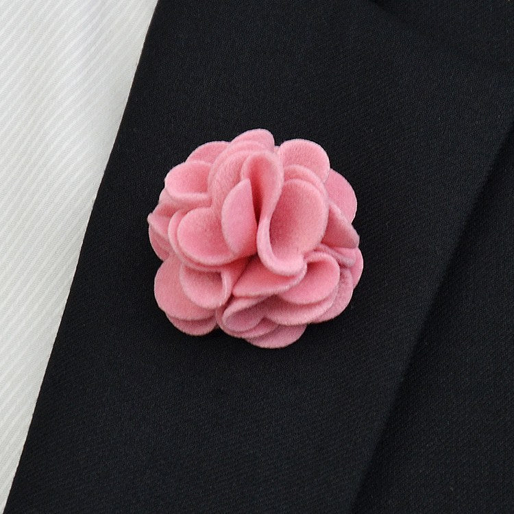 Pink Flannel Lapel Pin Flower - Bowties
