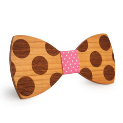 Pink Polka Dots Wooden Bow Tie