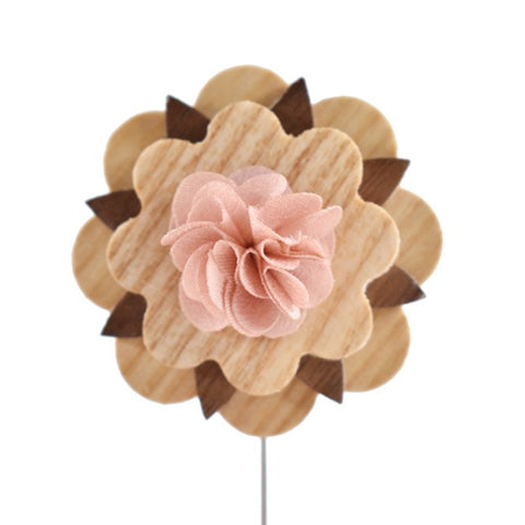 Pink Wooden Lapel Pin
