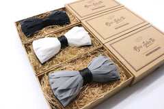 Black Premium Feather Bow Tie