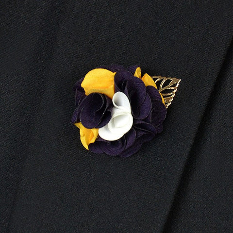 Purple Yellow Lapel Flower - Bowties - 1