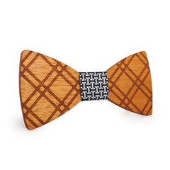 Puzzle Crossed Wooden Bow Tie