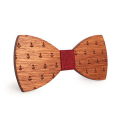 Red Anchor Wooden Bow Tie