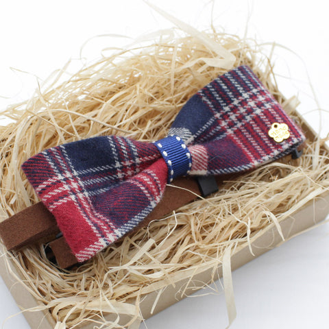 Red Checkered Cat & Dog Bow Tie Collar