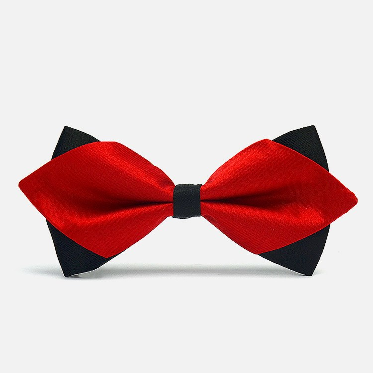 Red Diamond-Tip Tuxedo Bow Tie - Bowties
