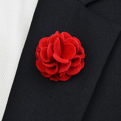 Red Flannel Lapel Pin Flower - Bowties - 1