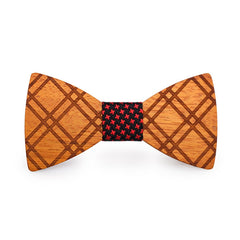 Red Stars Crossed Wooden Bow Tie