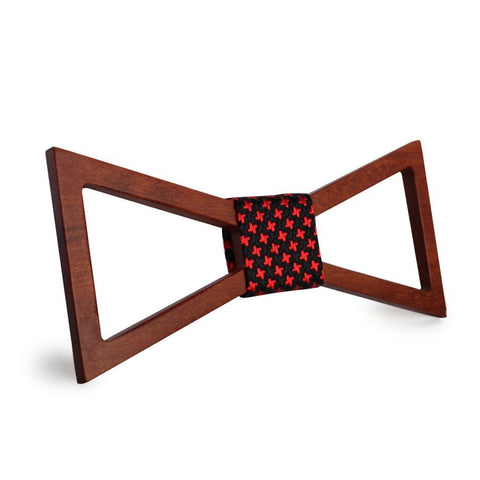 Red Stars Hollow Wooden Bow Tie