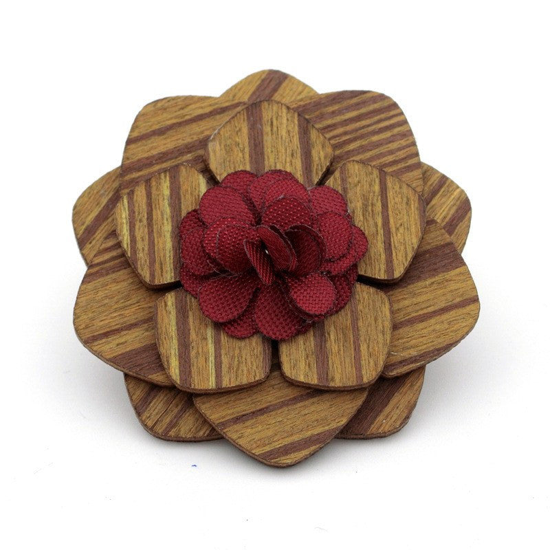 Red Wooden Lapel Pin