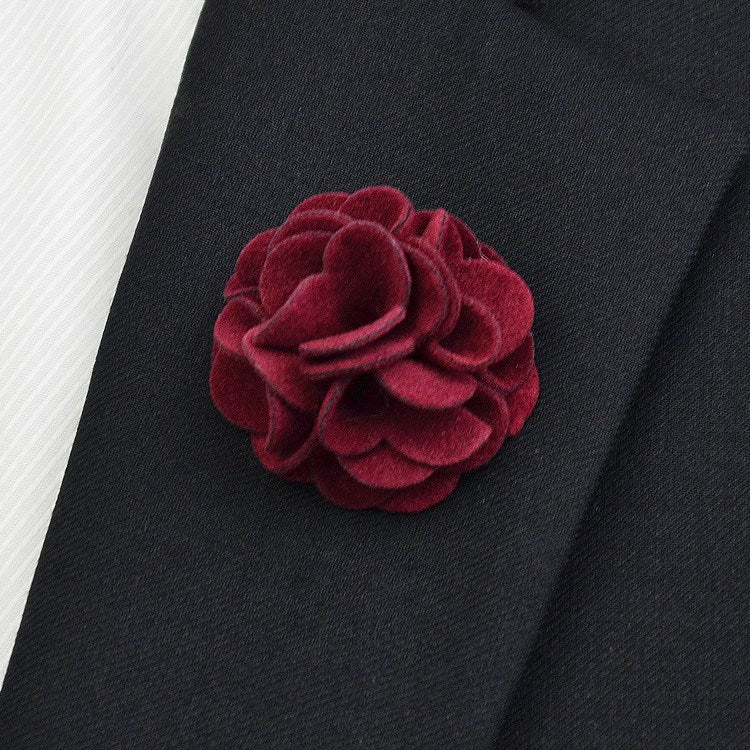 Ruby Flannel Lapel Pin Flower - Bowties - 1