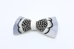 Silver Knight Feather Bow Tie