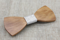 Silver Wooden Bow Tie - Bowties - 4