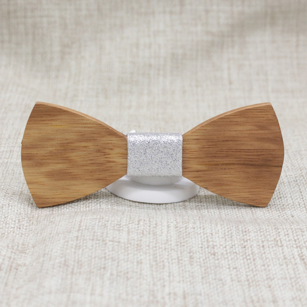 Silver Wooden Bow Tie - Bowties - 1