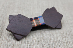Smoky Diamond Tipped Wood Bow Tie - Bowties - 2