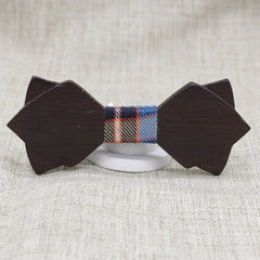 Smoky Diamond Tipped Wood Bow Tie - Bowties - 1