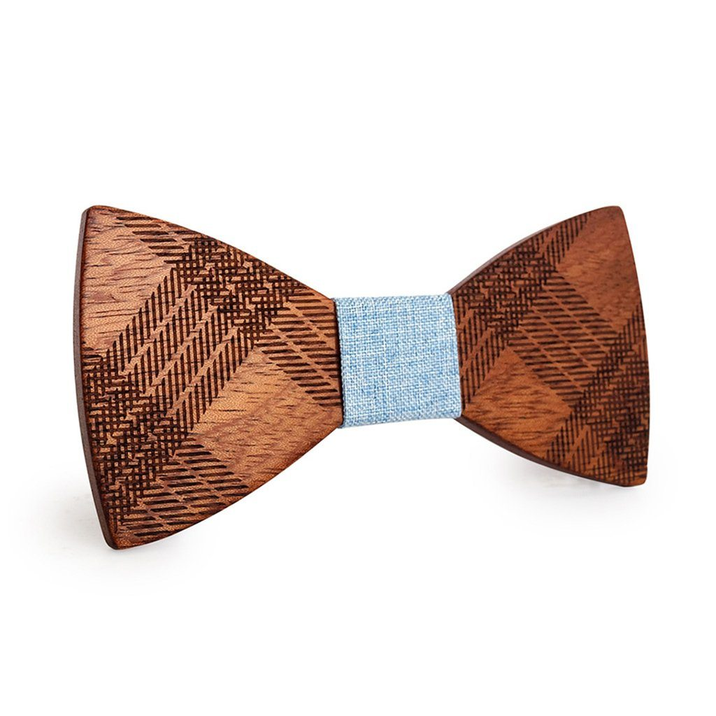 Striped With Blue Wooden Bow Tie