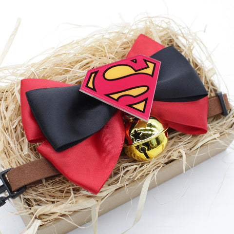 Superman Cat & Dog Bow Tie Collar