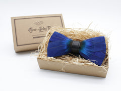 Thin Blue Feather Bowtie