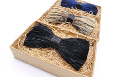 Blonde Tuxedo Feather Bow Tie