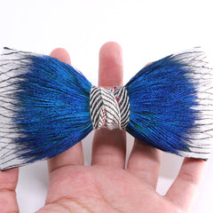 Vibrant Blue Peacock Feather Bow Tie