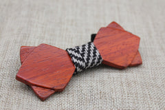 Warm Diamond Tip Wood Bow Tie