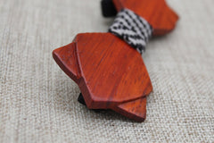Warm Diamond Tip Wood Bow Tie - Bowties - 2