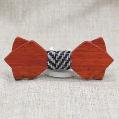 Warm Diamond Tip Wood Bow Tie - Bowties - 1