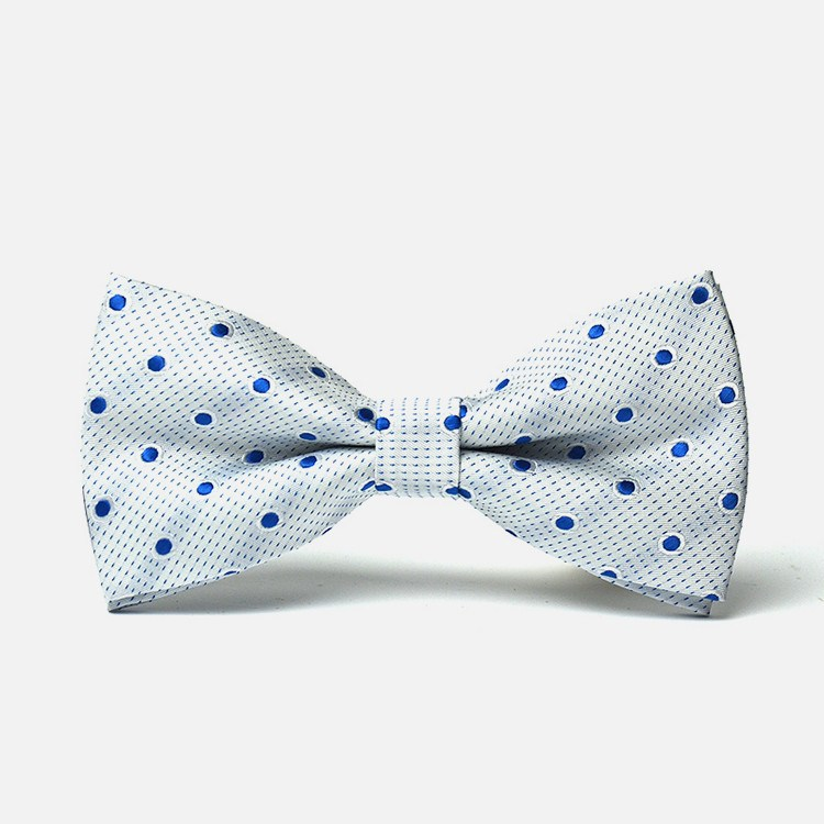White and Blue Polka Bowtie - Bowties