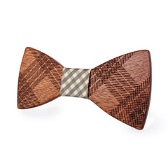 White & Brown Wooden Bow Tie