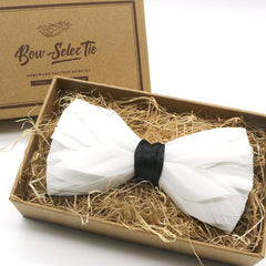 White Premium Feather Bow Tie