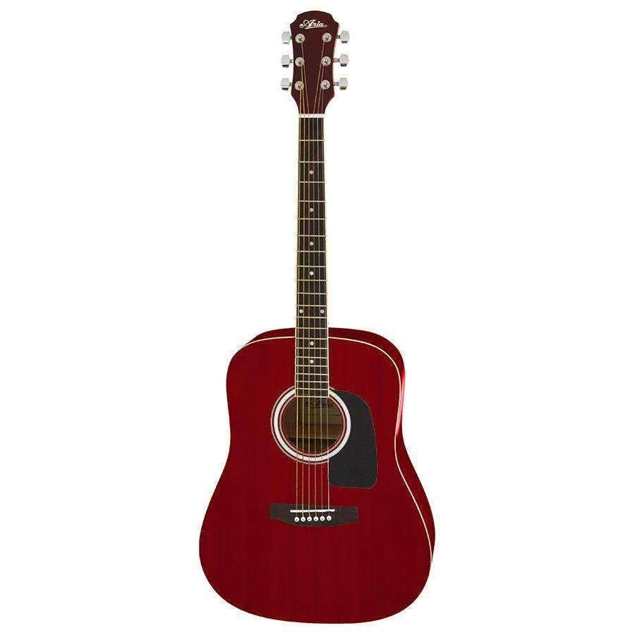 Aria Aria AW-15 Dreadnought Acoustic Guitar in Metallic Candy Apple Red - Industrie Music