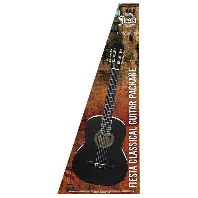 Industrie Music,Aria Fiesta 4/4-Size Classical/Nylon String Guitar Pack in Black