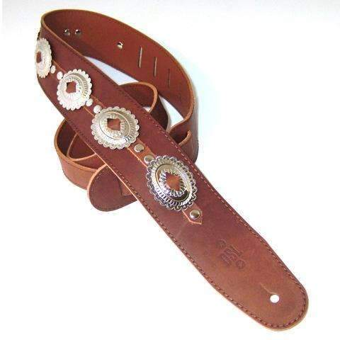 "DSL Guitar Strap Leather 2.5"" Brown x7 Flower Concho Straps DSL Straps"