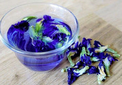 blue peaflower tea in a cup