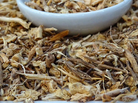 butchers broom root tea close up