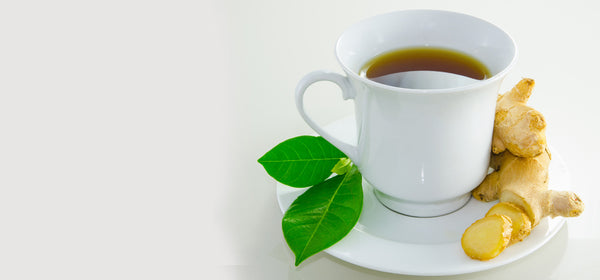ginger tea with green leaves