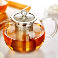 Modern Metal Infuser Glass Teapot