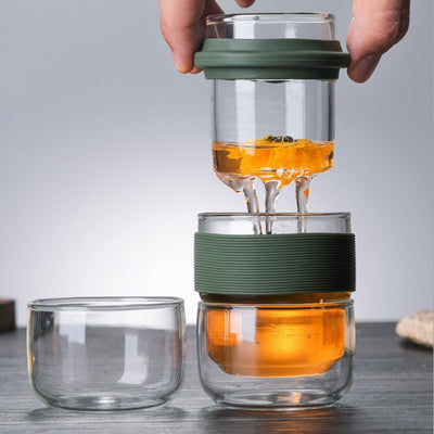 Portable Three Cup Glass with Strainer, Herbal Tea Tea Life