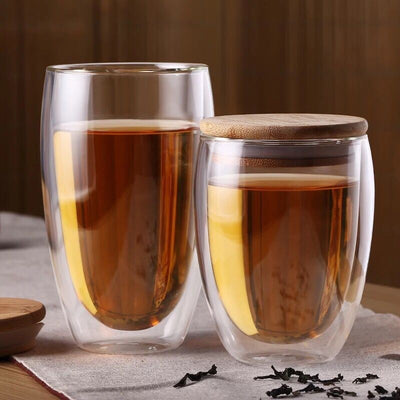 Woody Handmade Dual Glass Cup with Bamboo Lid, Cup Tea Life
